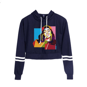 Cardi B Street Style Crop Top Hoodie for Women and Girls