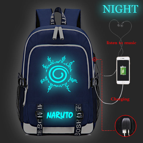 Anime Naruto Rucksuck Backpack Glow In Dark Student School Bag Bookbag With USB Charging Port