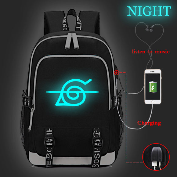 Anime Naruto Rucksuck Oxford Backpack Glow In Dark Student School Bag Bookbag With USB Charging Port