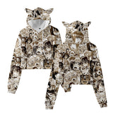 Anime Ahegao Girls Crop Top Hoodie With Cat Ear
