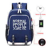 American Horror Story Students Backpack Big Capacity Rucksuck With USB Charging Port Glow In The Dark