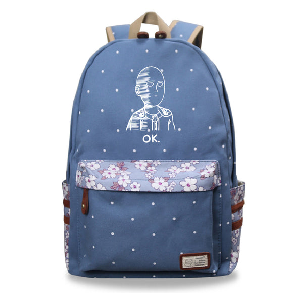 Youth Anime ONE PUNCH-MAN Canvas Student Backpack With Flower Décor