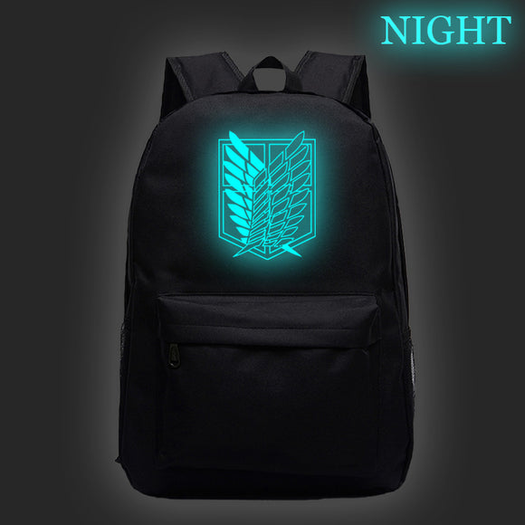 Attack on Titan Shingeki no Kyojin Glow In The Dark Backpack For Students