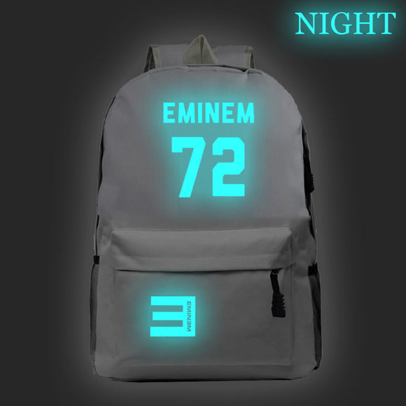 Eminem Youth Backpack High School Students Eminem 72 Print Backpack Glow In The Dark
