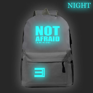 Eminem Youth Backpack High School Students Not Afraid Print Backpack Glow In The Dark