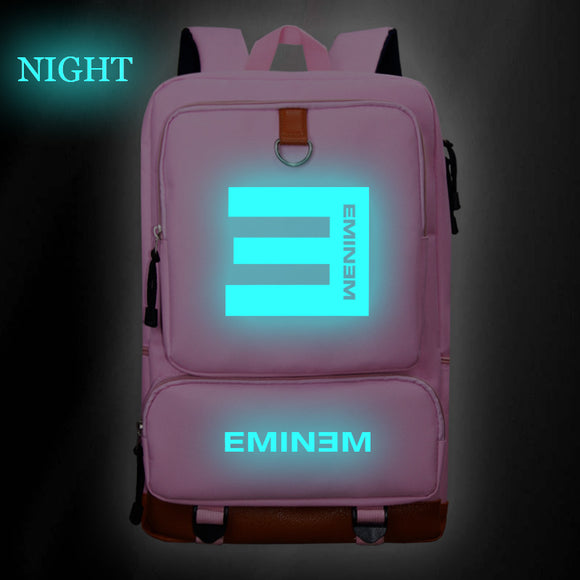 Eminem Backpack Glow In The Dark Pop Star Fans School Bag Hip Hop Fashion School Bag