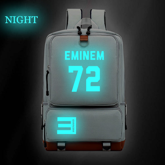 Eminem 72  Backpack Glow In The Dark Pop Star Fans School Bag Hip Hop Fashion School Bag