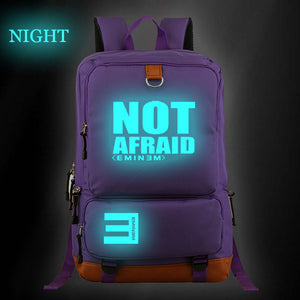 Eminem NOT AFRAID Backpack Glow In The Dark Pop Star Fans School Bag Hip Hop Fashion School Bag