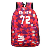 Eminem Youth Backpack High School Students Eminem 72 Print Backpack