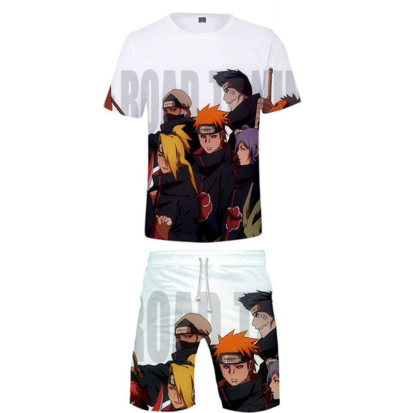 Anime Naruto Shirts and Shorts Casual Summer Suit