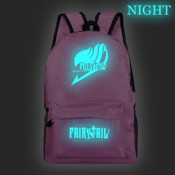Fairy Tail Polyester Backpack Students Bookbag Glow In The Dark For Youth