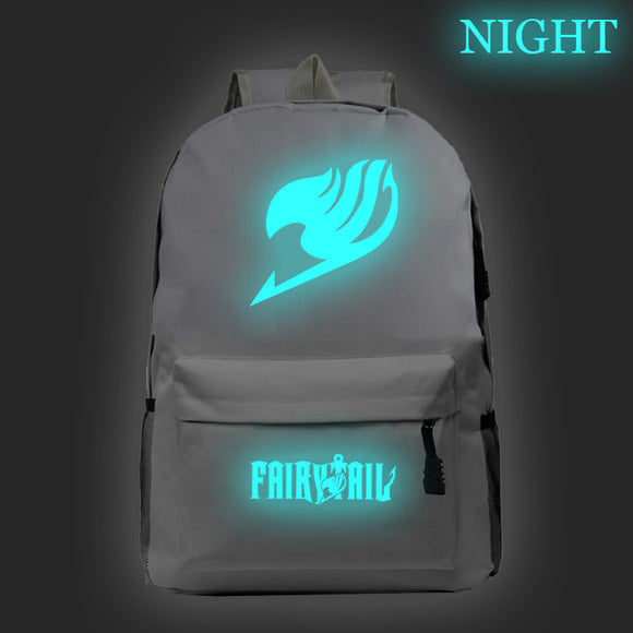 Youth Fairy Tail Polyester Backpack Students Bookbag Glow In The Dark