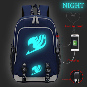 Fairy Tail Backpack Big Capacity Rucksuch Travel Bag Glow In The Dark With USB Charging Port