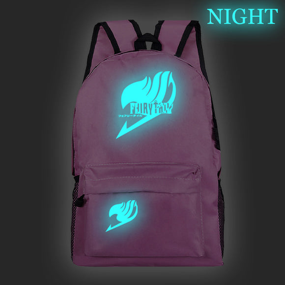 Fairy Tail Backpack Students Bookbag Glow In The Dark For Youth