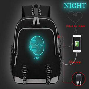 Anime ONE PUNCH-MAN Canvas Student Backpack Glow In The Dark With USB Charging Port