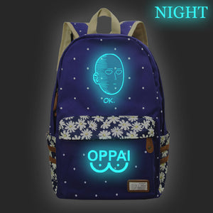 Anime ONE PUNCH-MAN Canvas Student Backpack Glow In The Dark With Flower Décor