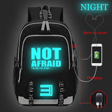 Eminem Backpack High School Students With USB Charge Port Glow In The Dark