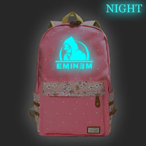 Eminem Backpack High School Students Backpack Bookbags Glow In The Dark