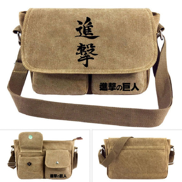 Attack on Titan Shingeki no Kyojin Khaki Cross Shoulder Bag Teenager Daybag