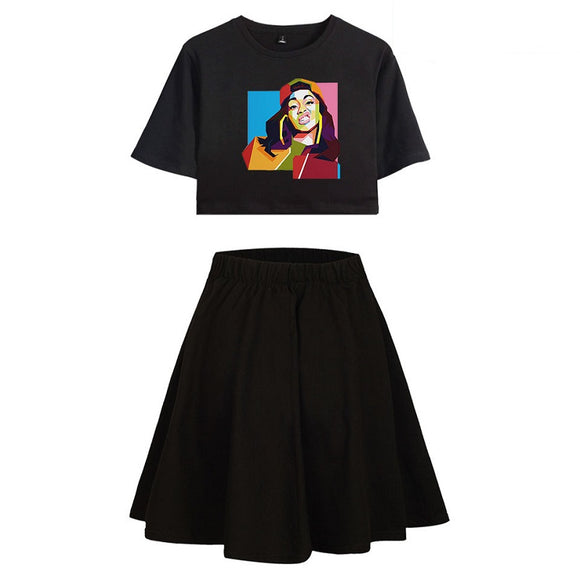 Cardi B Street Style Crop Top Shirt and Skirt Set For Gisl Women
