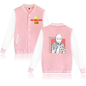 One Punch Man Unisex Youth Adults Baseball White Print Jacket