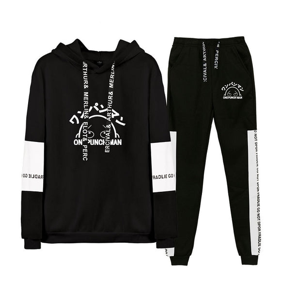 One Punch Man Unisex Polyester Hoodie and Pants Suit