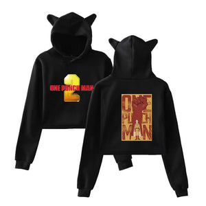 One Punch Man Girls Crop Top Polyester Hoodie With Cat Ear