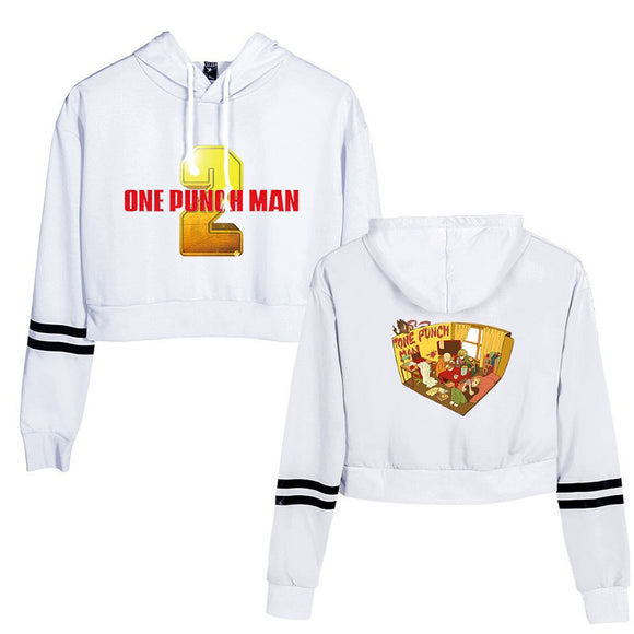 One Punch Man Girls Crop Top Polyester Hoodie