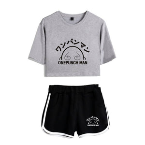 One Punch Man Girls Crop Top and Shorts Suit