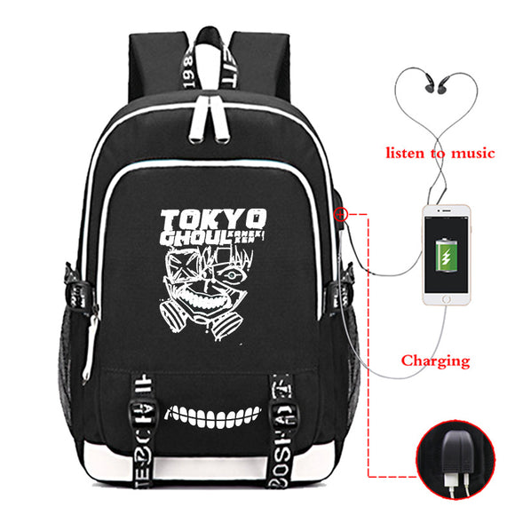 Anime Tokyo Ghoul Students Backpack BookBags With Charging Port