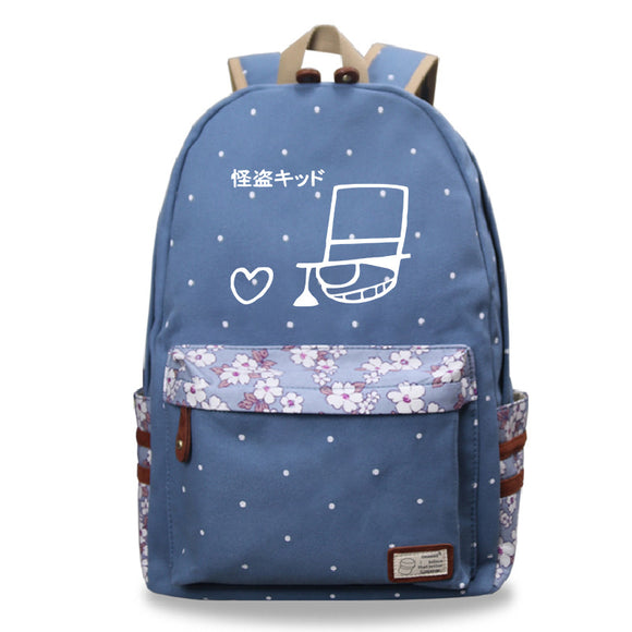 Japan Anime Detective Conan Backpack Floral Backpack For School