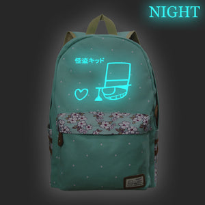 Japan Anime Detective Conan Backpack Floral Backpack Glow In The Dark For School