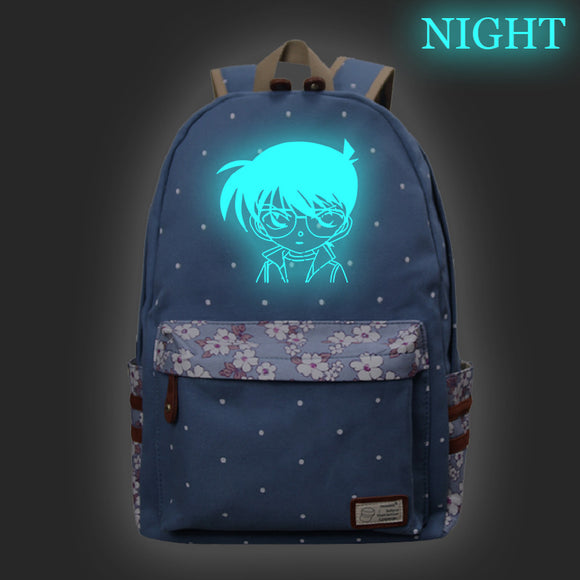 Japan Anime Detective Conan Polyester Backpack Floral Backpack Glow In The Dark For School
