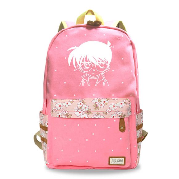 Japan Anime Detective Conan Canvas Backpack Floral Backpack For School