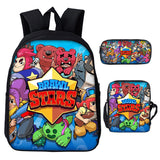 Brawl Stars School Backpack 3D Print School Bags Set Bookbags Shoulder Bag Pouch 3 in 1 for Teens Girls Boys