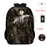 Anime Black Butler Kuroshitsuji 3D Print Students Backpack Bookbag With USB Charging Port