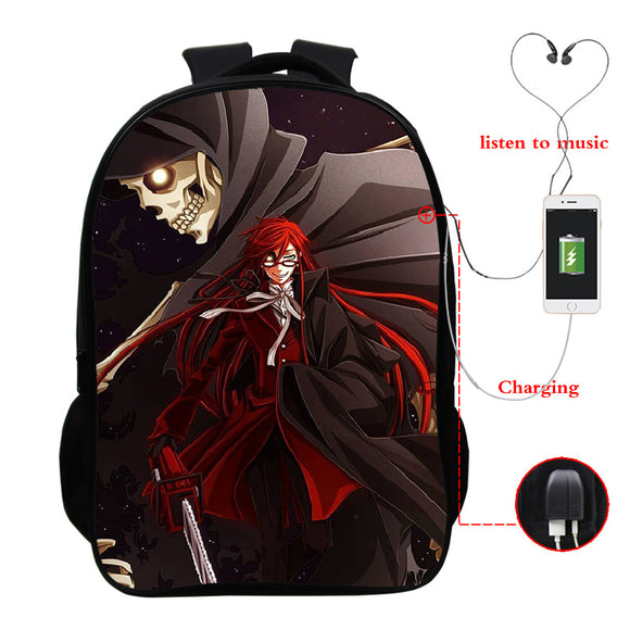 Anime Black Butler Kuroshitsuji 3D Print Students Polyester Backpack Bookbag With USB Charging Port