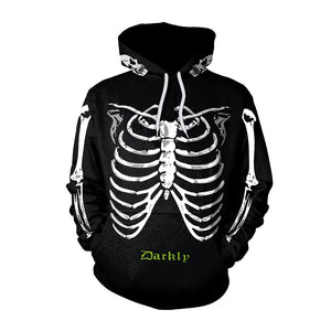 Halloween Hoodies Unisex Skeleton Print  Hoodies