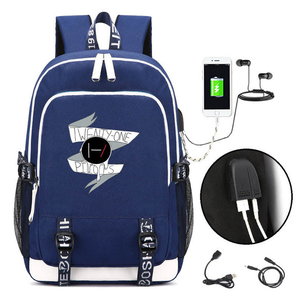 Twenty One 21 Pilots Backpack Schoolbag With USB Charging Port  For Teens Boys Girls
