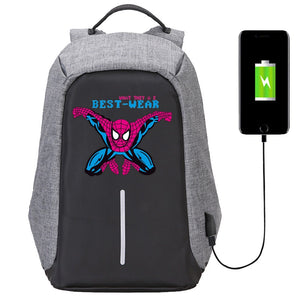 Marvel The Avengers Anti Theif Backpack USB Charge Port School Backpack Bookbags