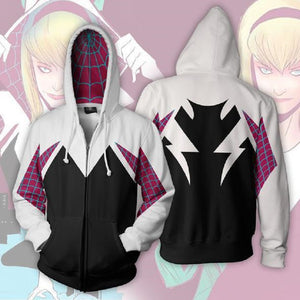 Marvel Spiderman Gwen Zip Up Hoodies Jacket for Adults and Youth