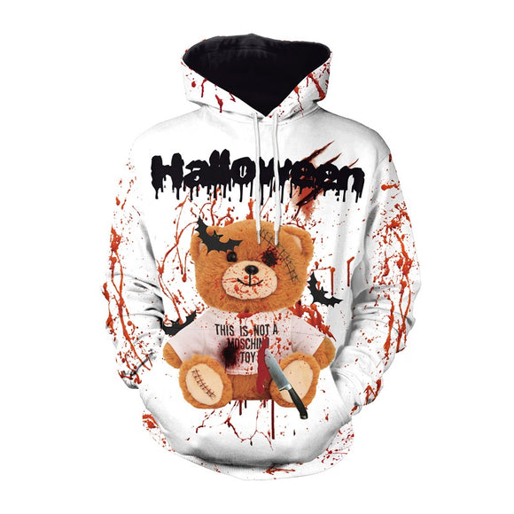 Halloween Hoodies Unisex Bloody Bear Hoodies