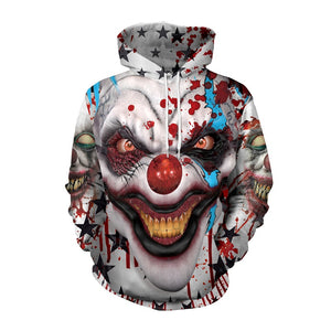 Halloween Hoodies Unisex Clown Face  Print  Hoodies