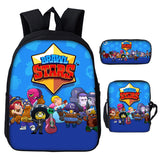 Brawl Stars 3D Print School Backpack With Bookbags Shoulder Bag Pencil Case