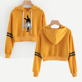 Ariana Grande Crop Top Hoodies Casual Pull Over Polyester Sweatshirt