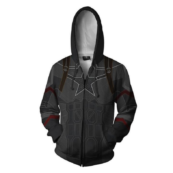 Marvel Captain America Zip Up Hoodies Zipper Jacket for Adults and Youth