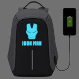 Marvel The Avengers Anti Theif Backpack USB Charge Port Luminous Print School Backpack Bookbags