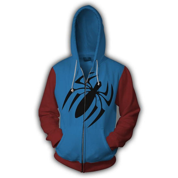 Marvel Spiderman Scarlet Spider Zip Up Hoodie Jacket for Adults and Youth