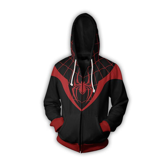 Marvel Spiderman Miles Morales  Zip Up Hoodies Jacket for Adults and Youth