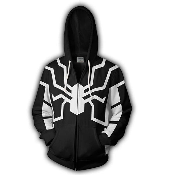 Marvel Spiderman Night Monkey Black Zip Up Hoodie Jacket for Adults and Youth